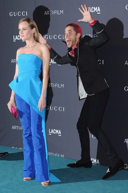 Jared Leto photo bombed Diane Kruger on the red carpet at the LACMA Art and Film Gala.