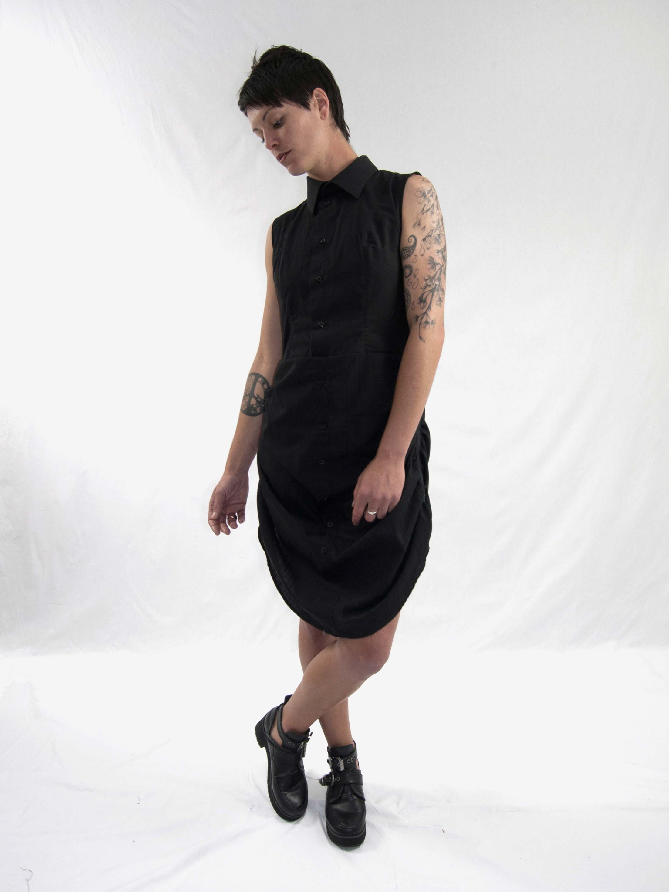 5gathered up dress blk