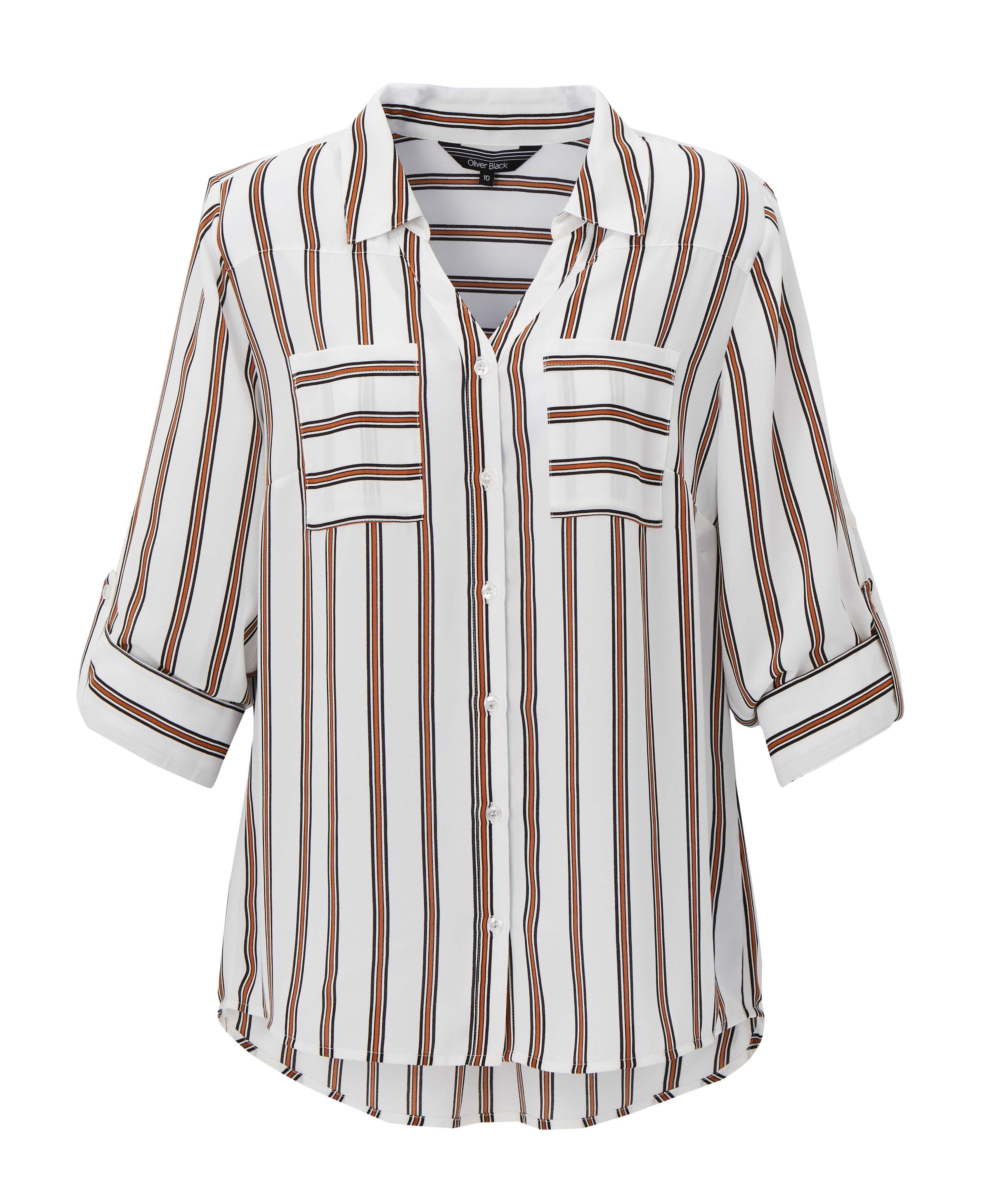 6077846 Oliver Black OB Stripe Black White Shirt Rolled Sleeves $69.99 Instore 4 Feb 2016