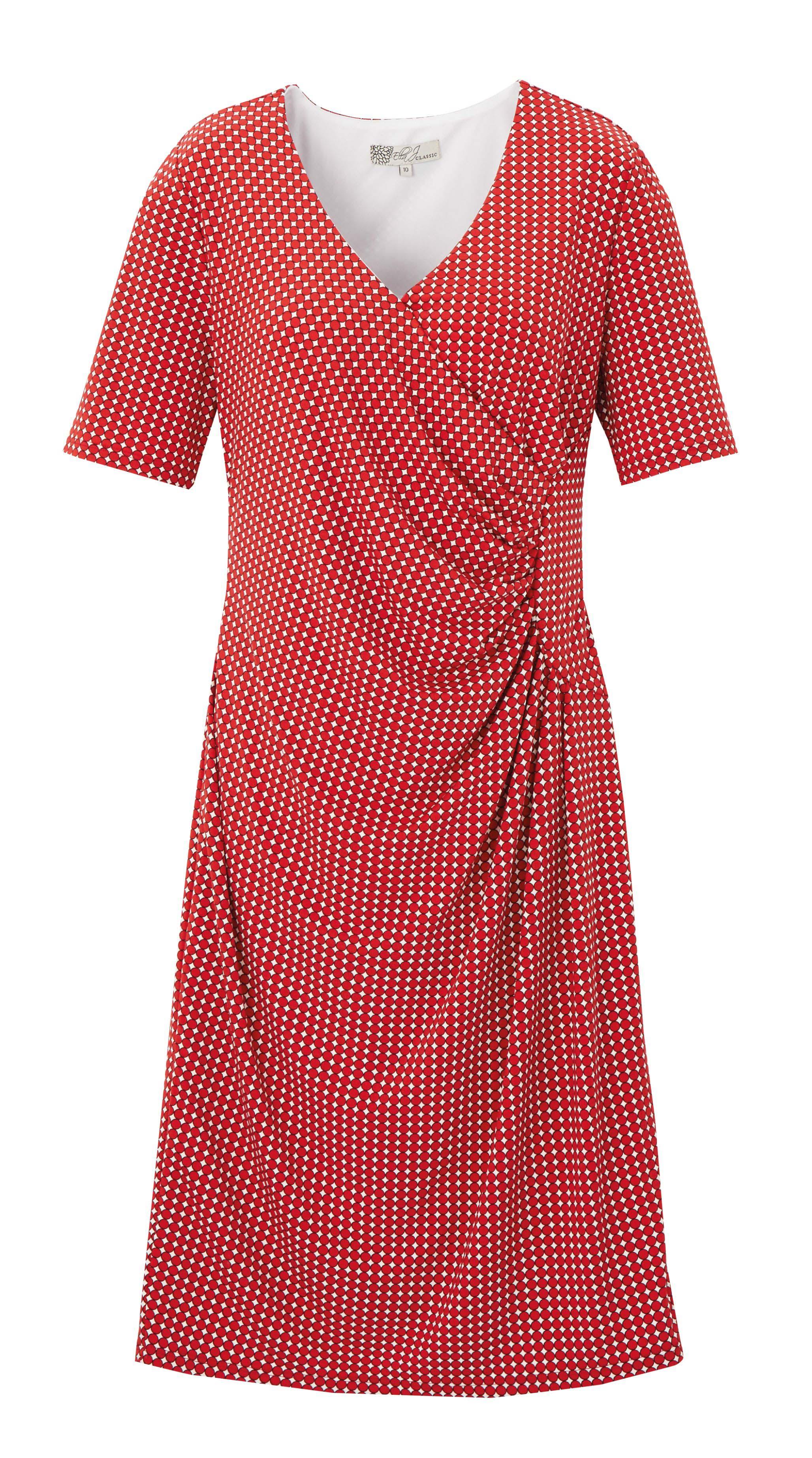 6085289 Ella J Classic Dryknit Polka Dot Print Panelled Dress Rust $89.99 Instore 1 Mar 2016