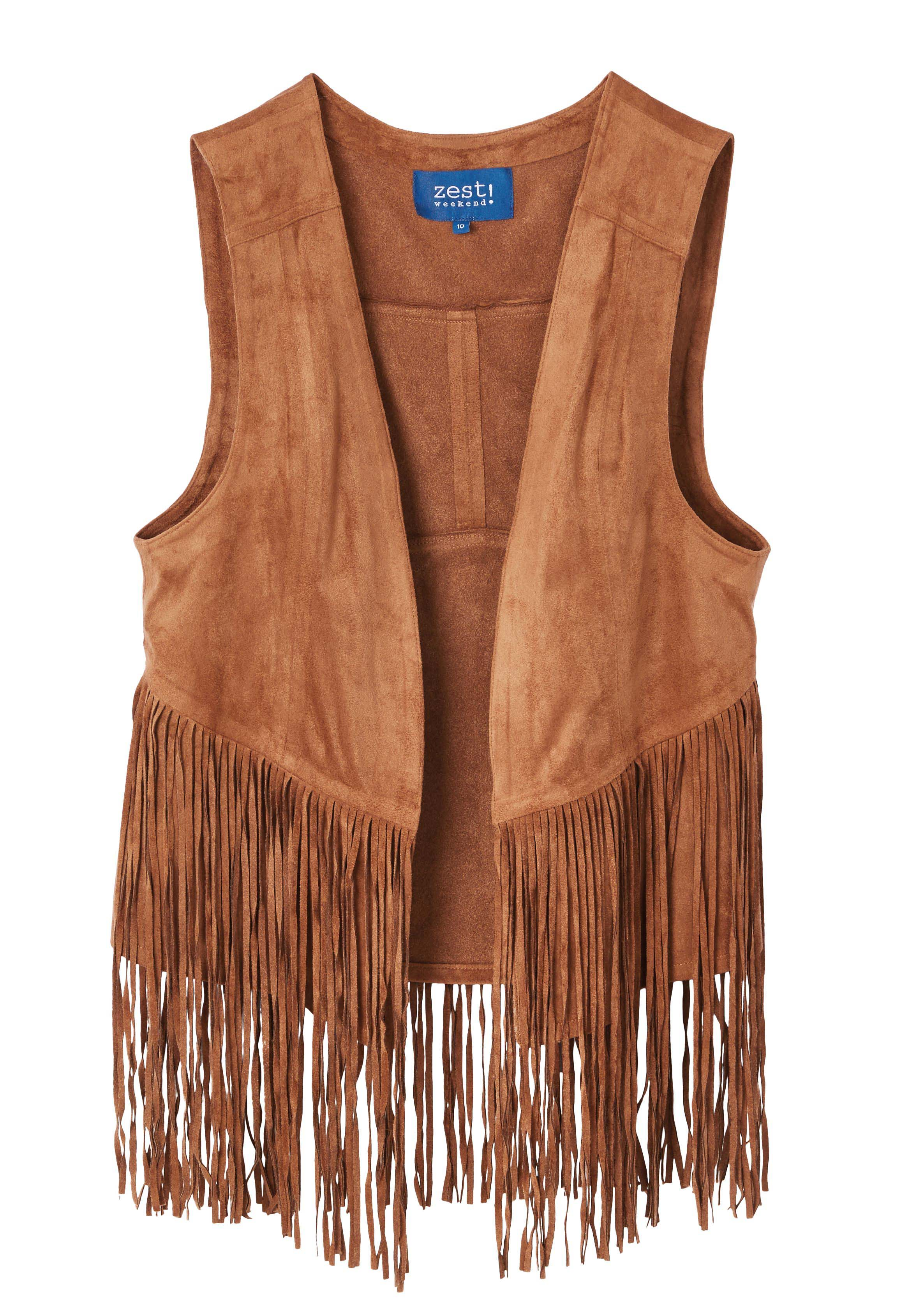 6085929 Zest Weekend Fringed Vest Camel $59.99 Instore 7 Mar 2016