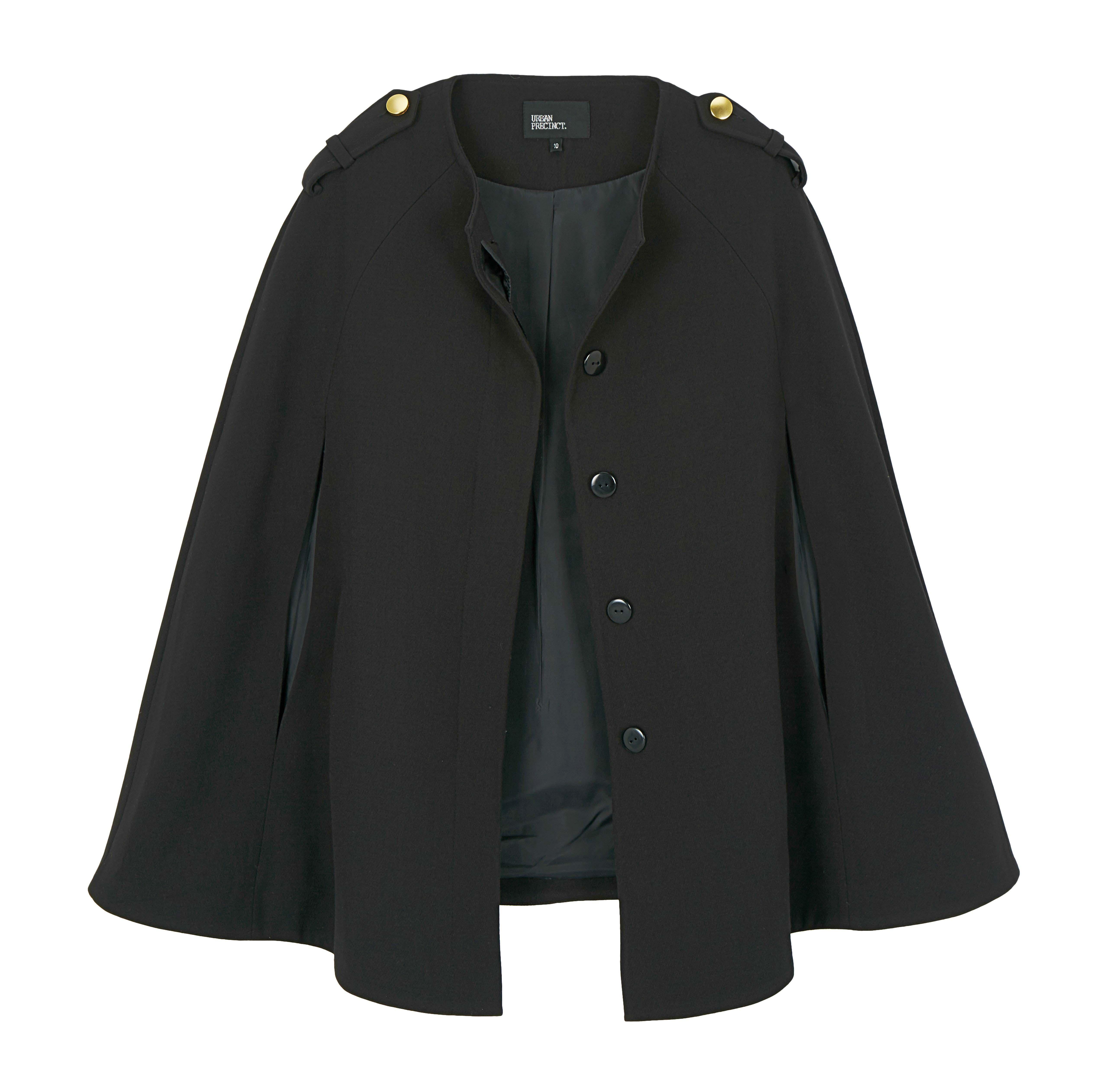 6091380 Urban Precinct Black Cape Coat $119.99 Instore March 21 2016