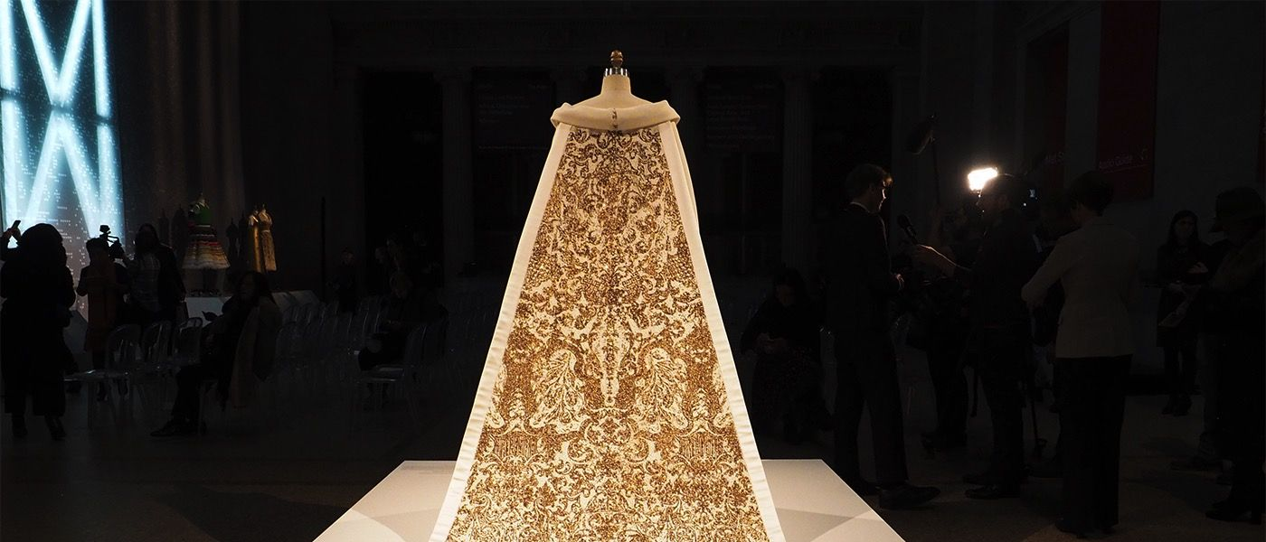 The House of Chanel wedding dress designed by Karl Lagerfeld is photographed at the press presentation of the Costume Institute's Manus x Machina exhibition at the Metropolitan Museum of Art.