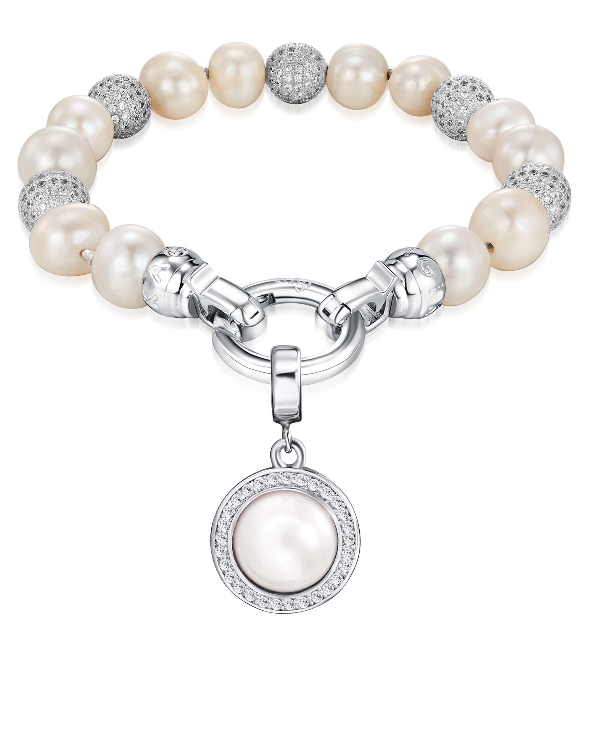 Kagi Pearl Luxe Bracelet with Pearl Orbit Small Pendant $119 www.kagi.net