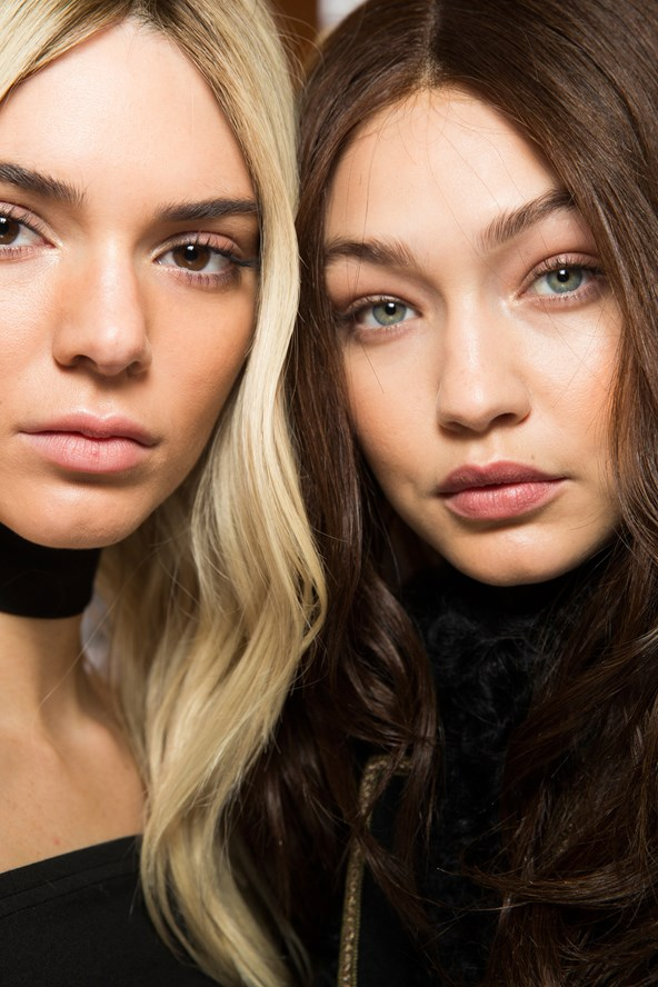Backstage Beauty // Balmain hair swap, Sam McKnight fitted select models with coloured wigs in the opposite hue to models' own colour - think Kendall Jenner as a blonde and Gigi Hadid as a brunette.