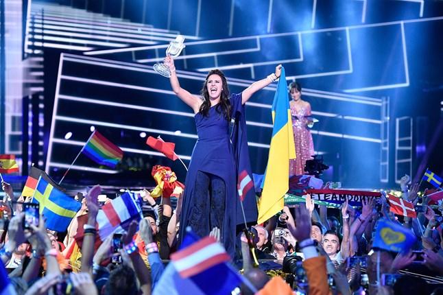 Eurovision entree, Jamala from Ukraine, celebrates winning the contest in Stockholm.
