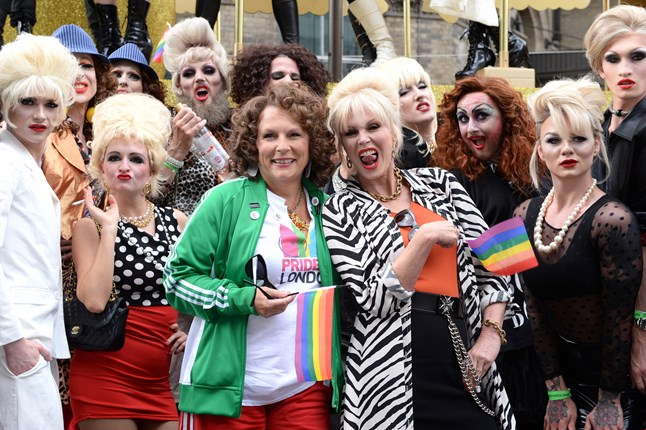 Jennifer Saunders and Joanna Lumley attended London Pride as Eddy and Patsy to promote the upcoming Absolutely Fabulous film.