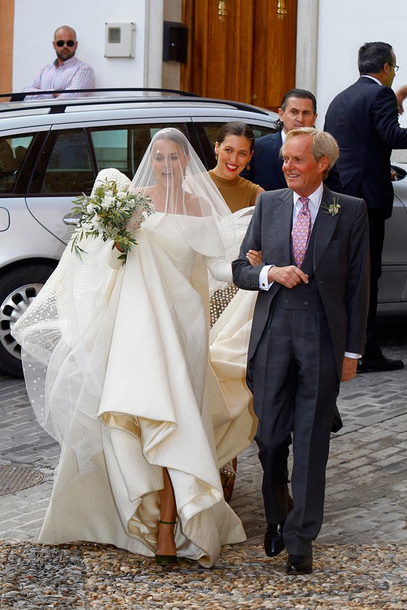 Lady Charlotte Wellesley, daughter of the Duke of Wellington, arrives at her wedding to financier Alejandro Santo Domingo in Spain.