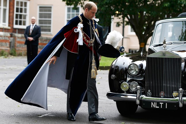 The Duke of Cambridge is photographed looking like a superhero following the Order of the Garter service at Windsor Castle