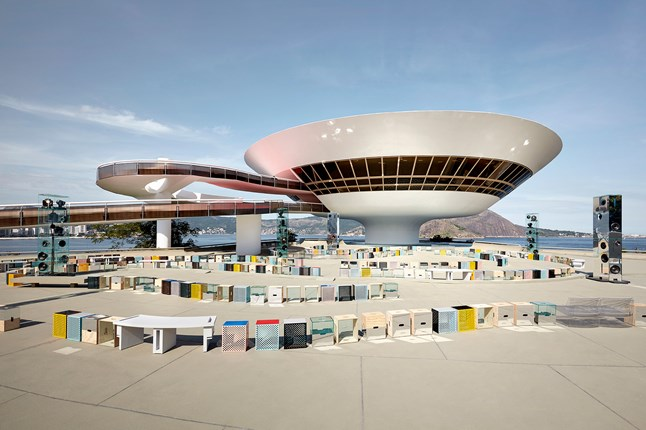 Louis Vuitton shows its Cruise collection at Rio de Janeiro's Mac Niterói art gallery.