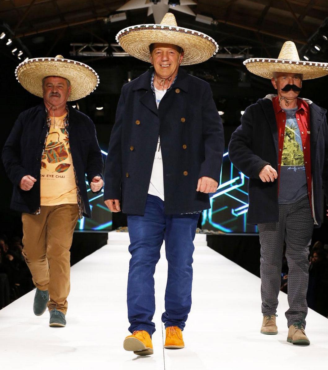 The three majors of Southland make a surprise appearance on the catwalk at the Hokonui Fashion Design Awards on Saturday night. (Mayor Tracy Hicks, Mayor Gary Tong, Mayor Tim Shadbolt)