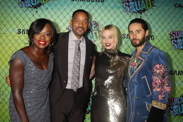 Viola Davis, Will Smith, Margot Robbie and Jared Leto at the 'Suicide Squad' World Premiere at The Beacon Theatre in New York.