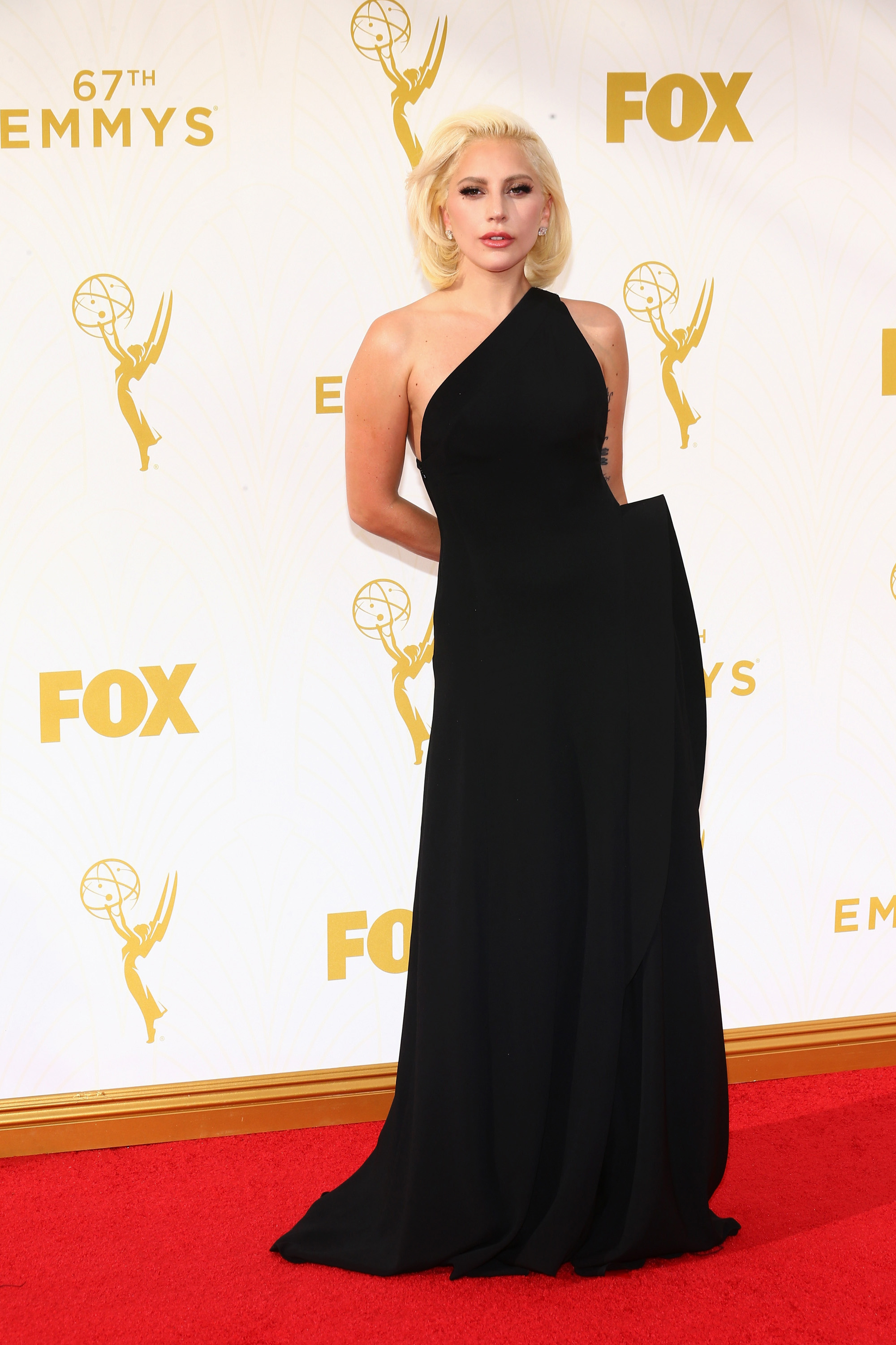 Lady Gaga on the red carpet at the 67th Emmy Awards