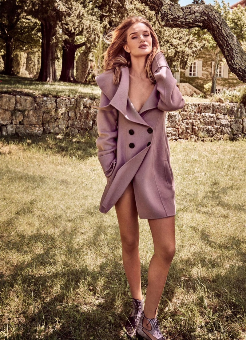 Rosie Huntington-Whiteley graces the front cover of the latest Harpers Bazaar Australia in a Dior jacket and boots
