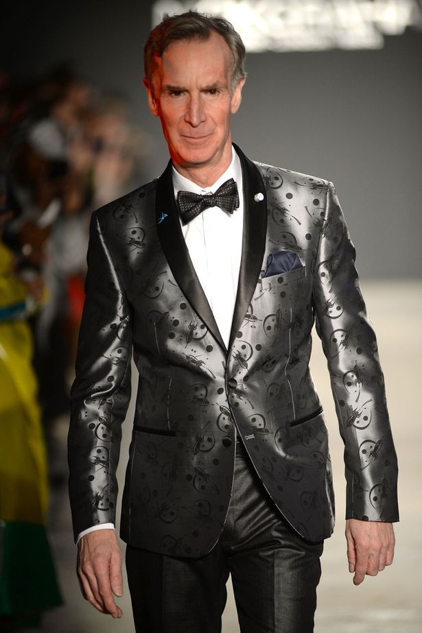 Bill Nye the science guy made his modelling debut at New York Fashion Week.  He wore a silver suit patterned with small rocket ships, and walked in Nick Graham's show.