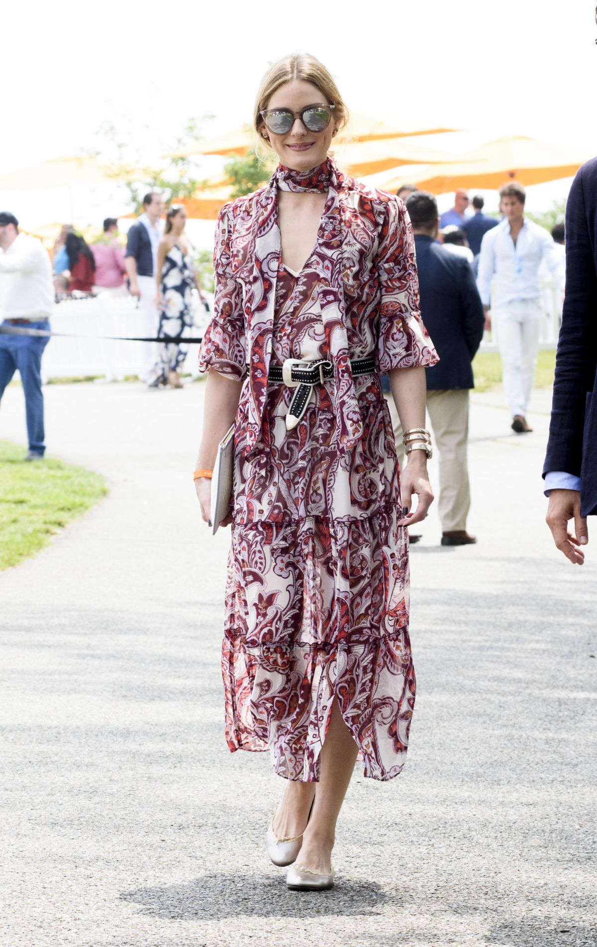Style maven, Olivia Palermo, is bohemian chic in a ruffled, layered dress.