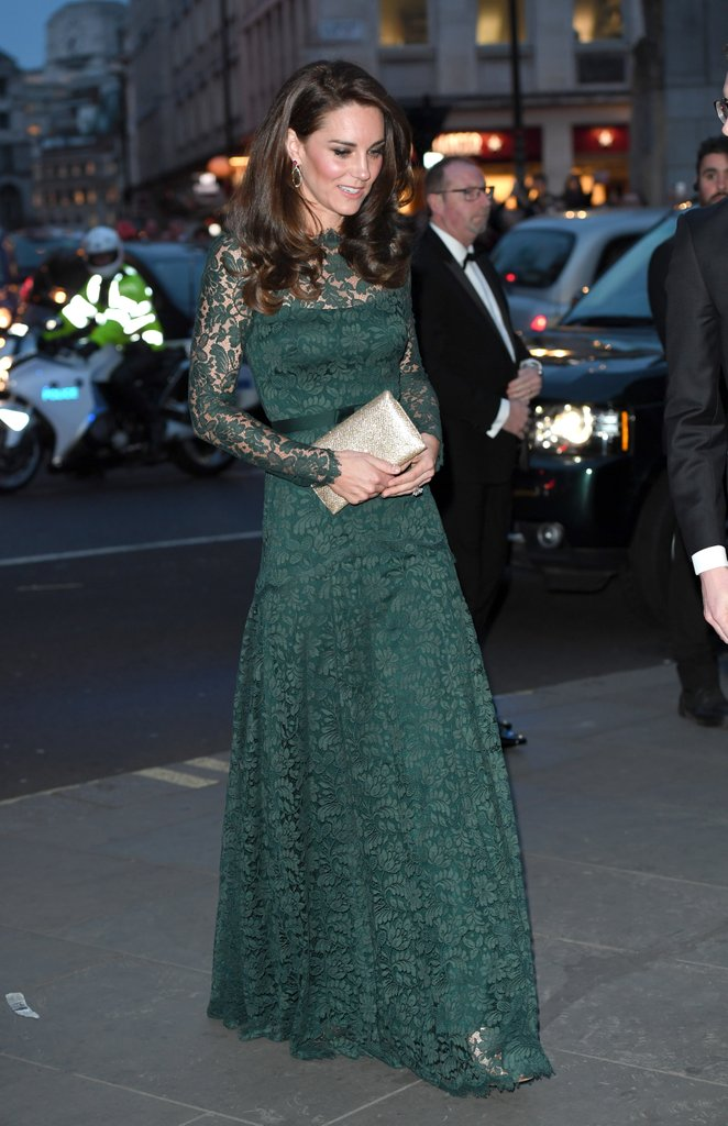 Kate Middleton attended the annual Portrait Gala in London, wearing a forest green dress by Temperley gown and gold accessories.
