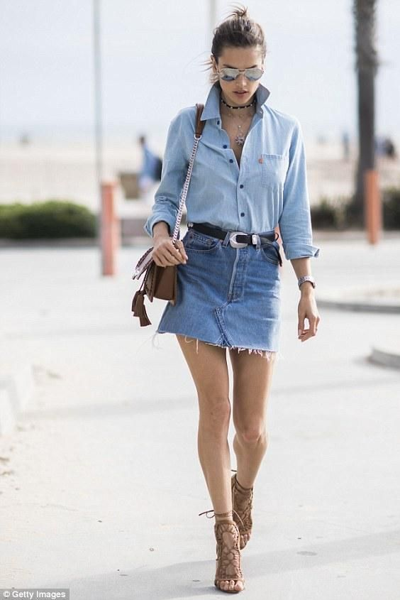 A chambray shirt, denim skirt, and accessories on accessories on accessories!