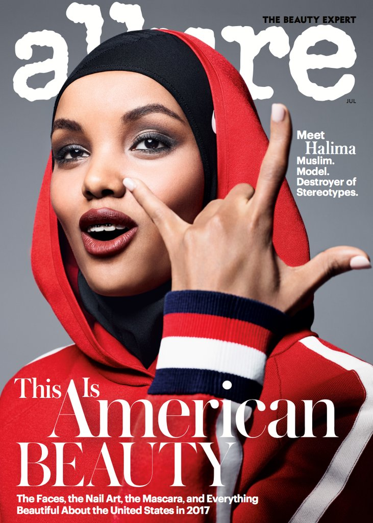 Halima Aden's July Allure cover made history as the first American major fashion magazine to feature a muslim woman wearing a hijab on the cover.