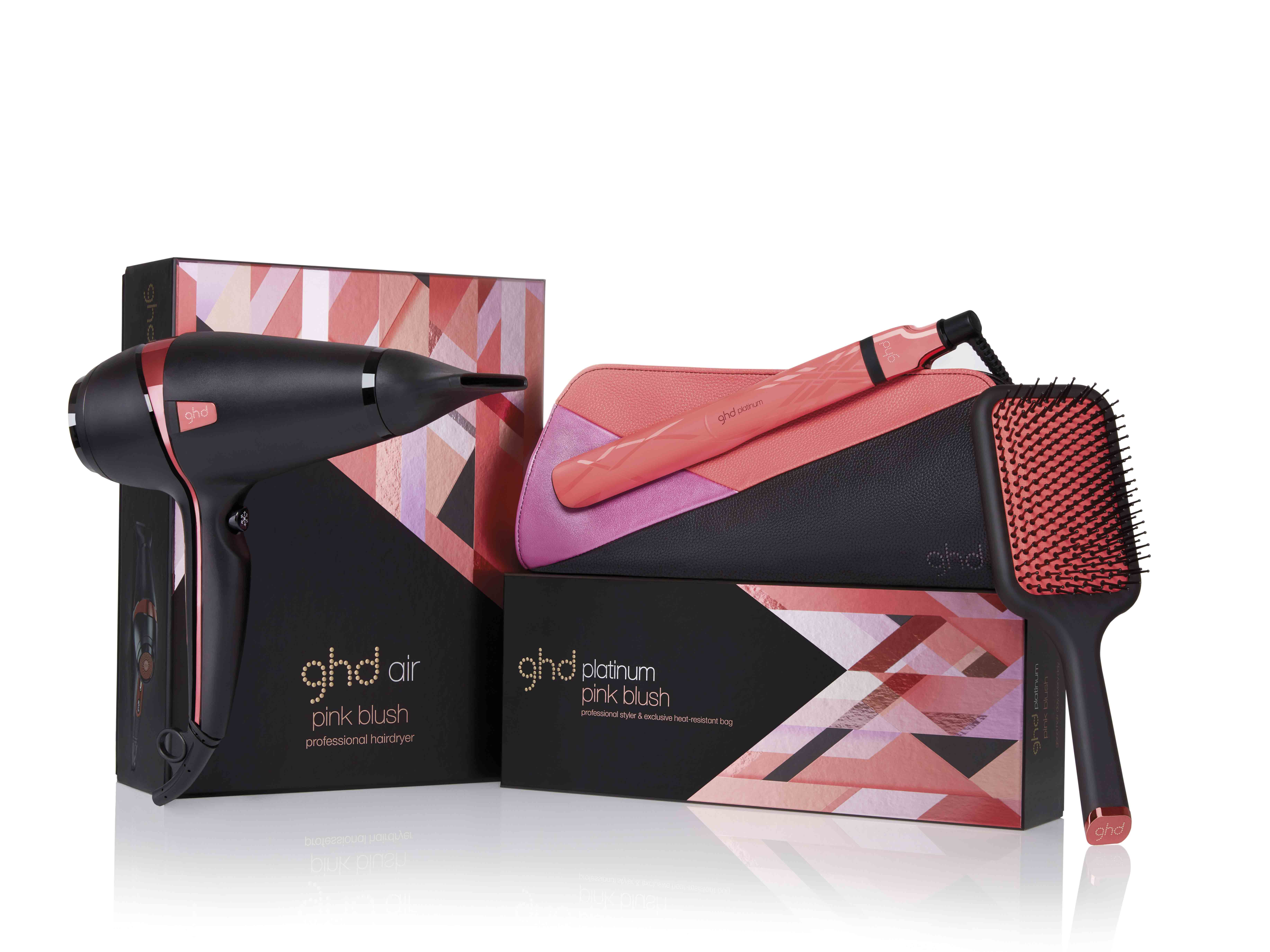 ghd pink blush air, ghd pink blush platinum, ghd pink blush paddle brush