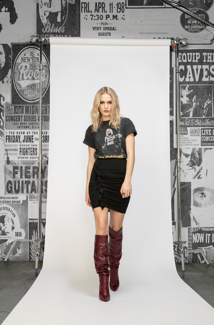 ruffle-knit-skirt-with-vintage-tee