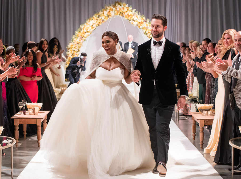 Serena Williams got married in a Sarah Burton for Alexander McQueen princess gown.
