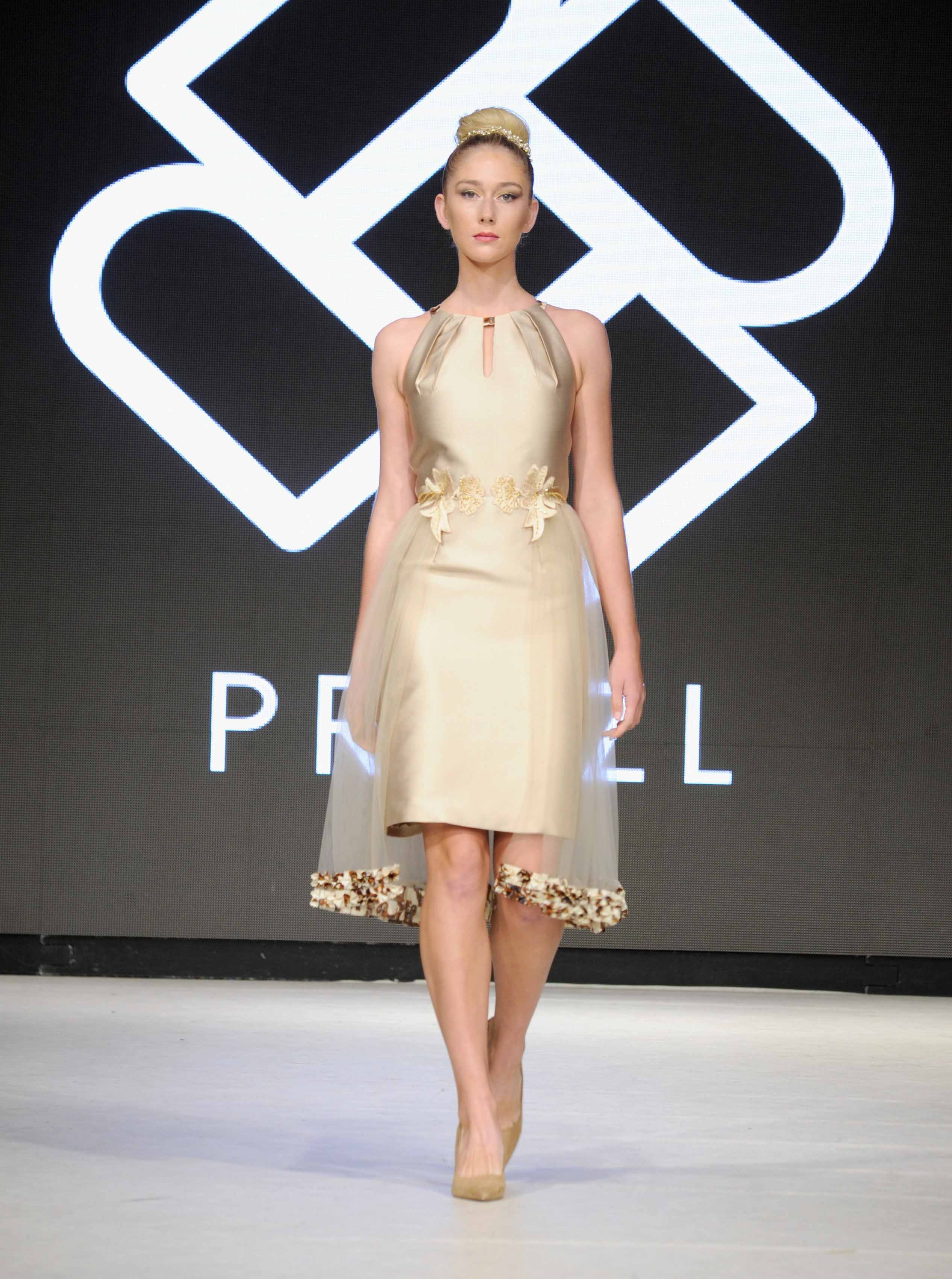 VANCOUVER, BC - SEPTEMBER 23:  A model walks the runway wearing Priszl at 2017 Vancouver Fashion Week - Day 6 on September 23, 2017 in Vancouver, Canada.  (Photo by Arun Nevader/Getty Images for VFW Management INC)