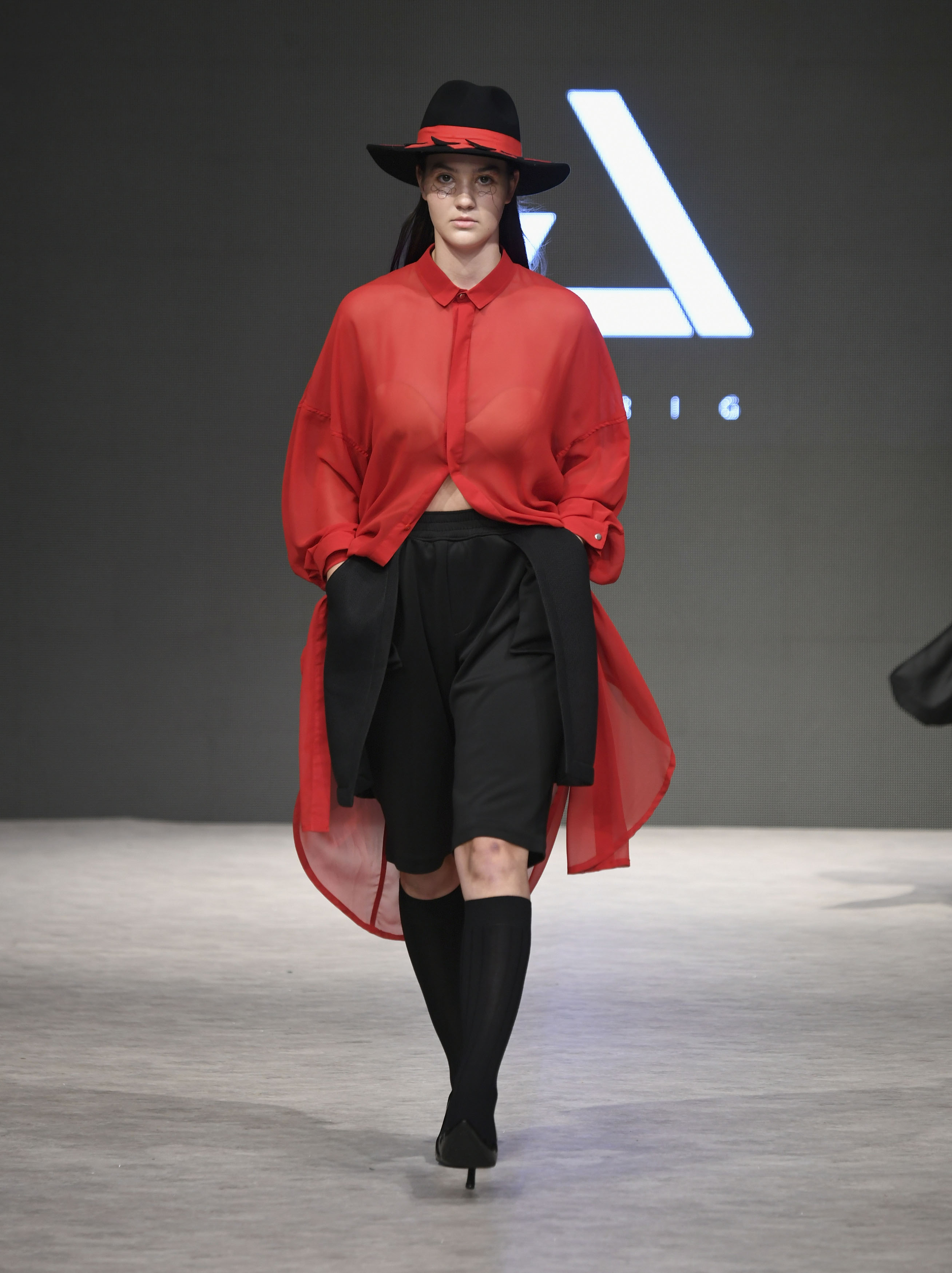 VANCOUVER, BC - SEPTEMBER 21:  A model walks the runway wearing JNORIG at Vancouver Fashion Week Spring/Summer 19 - Day 5 on September 21, 2018 in Vancouver, Canada.  (Photo by Arun Nevader/Getty Images for VFW Management INC)