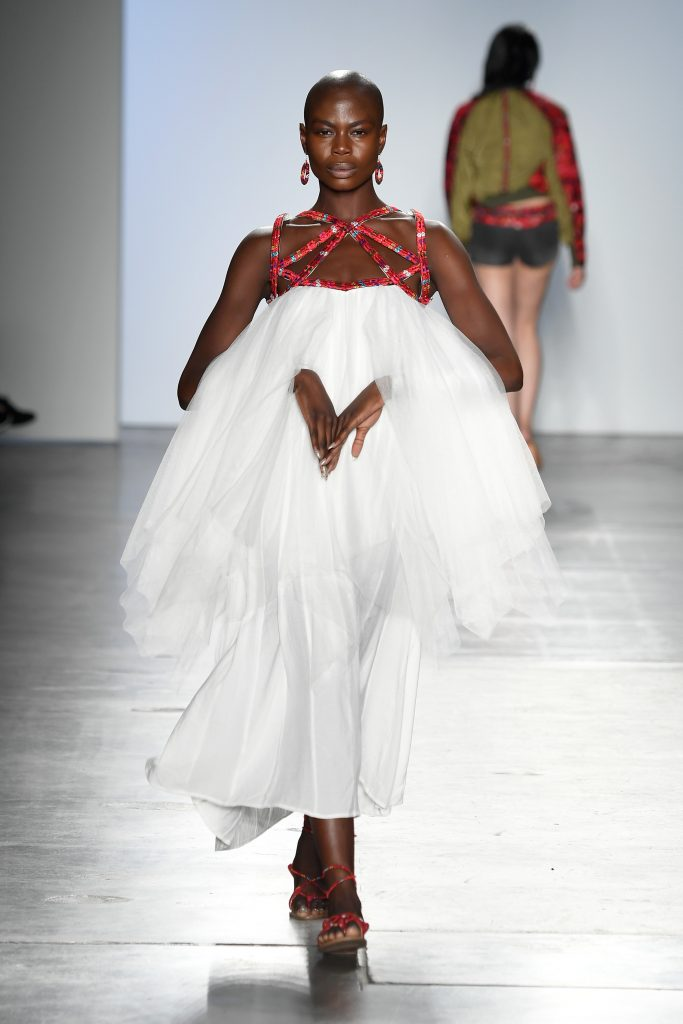 NEW YORK, NY - SEPTEMBER 08: A model walks the runway for XY at the Global Fashion Collective II Show during New York Fashion Week at Pier 59 on September 8, 2018 in New York City. (Photo by Arun Nevader/Getty Images for Global Fashion Collective )