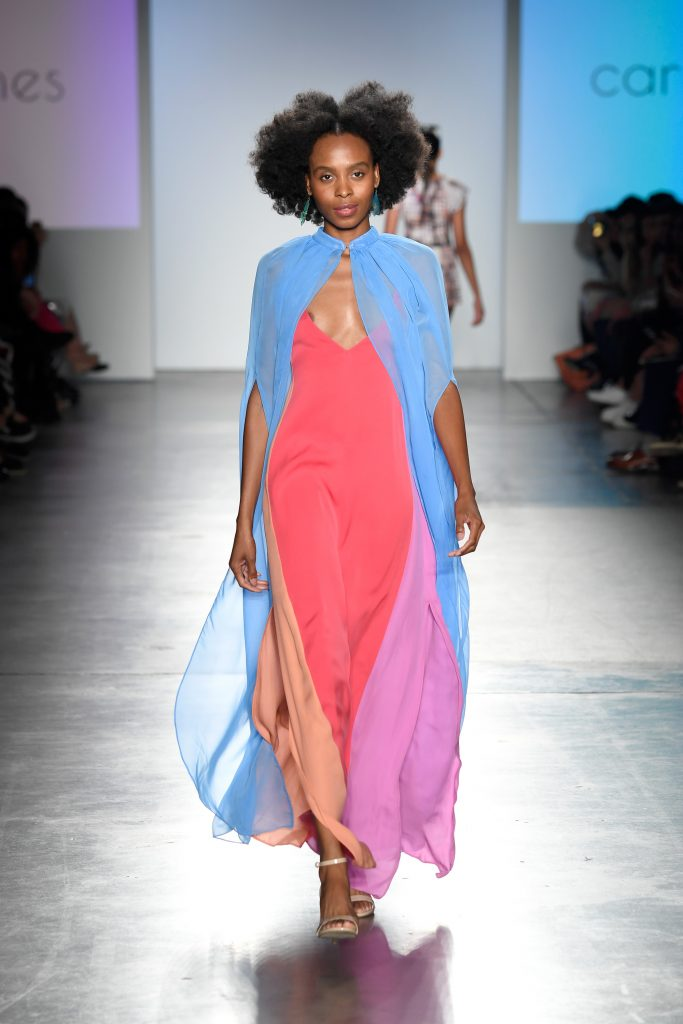NEW YORK, NY - SEPTEMBER 08: A model walks the runway for Carlton Jones at the Global Fashion Collective II Show during New York Fashion Week at Pier 59 on September 8, 2018 in New York City. Carlton Jones resort wear collection TERRA