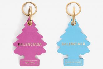two balenciaga key rings modelled off little trees air fresheners