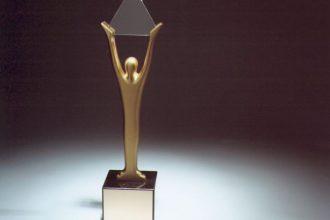 stevie award trophy against a black background