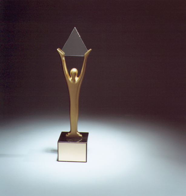 stevie award trophy against a black background