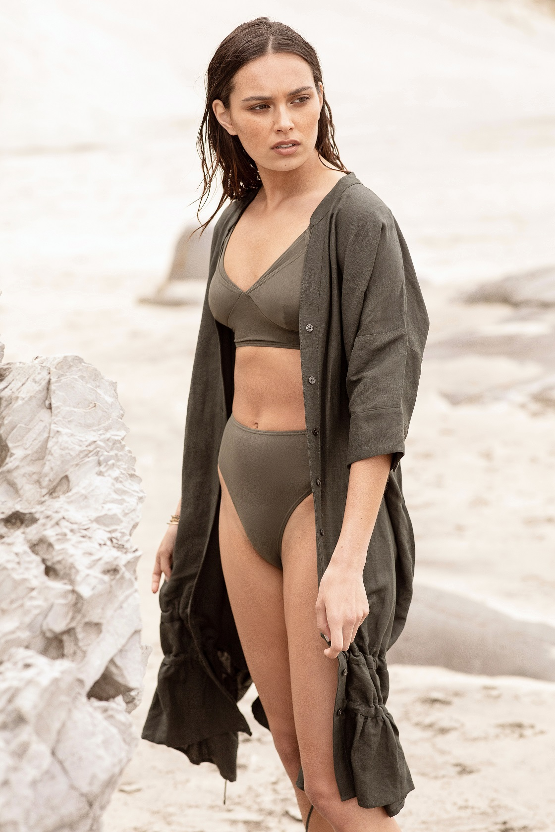 _moochi layer crop khaki $149.99 high brief $49.99 leash kaftan khaki $299.99