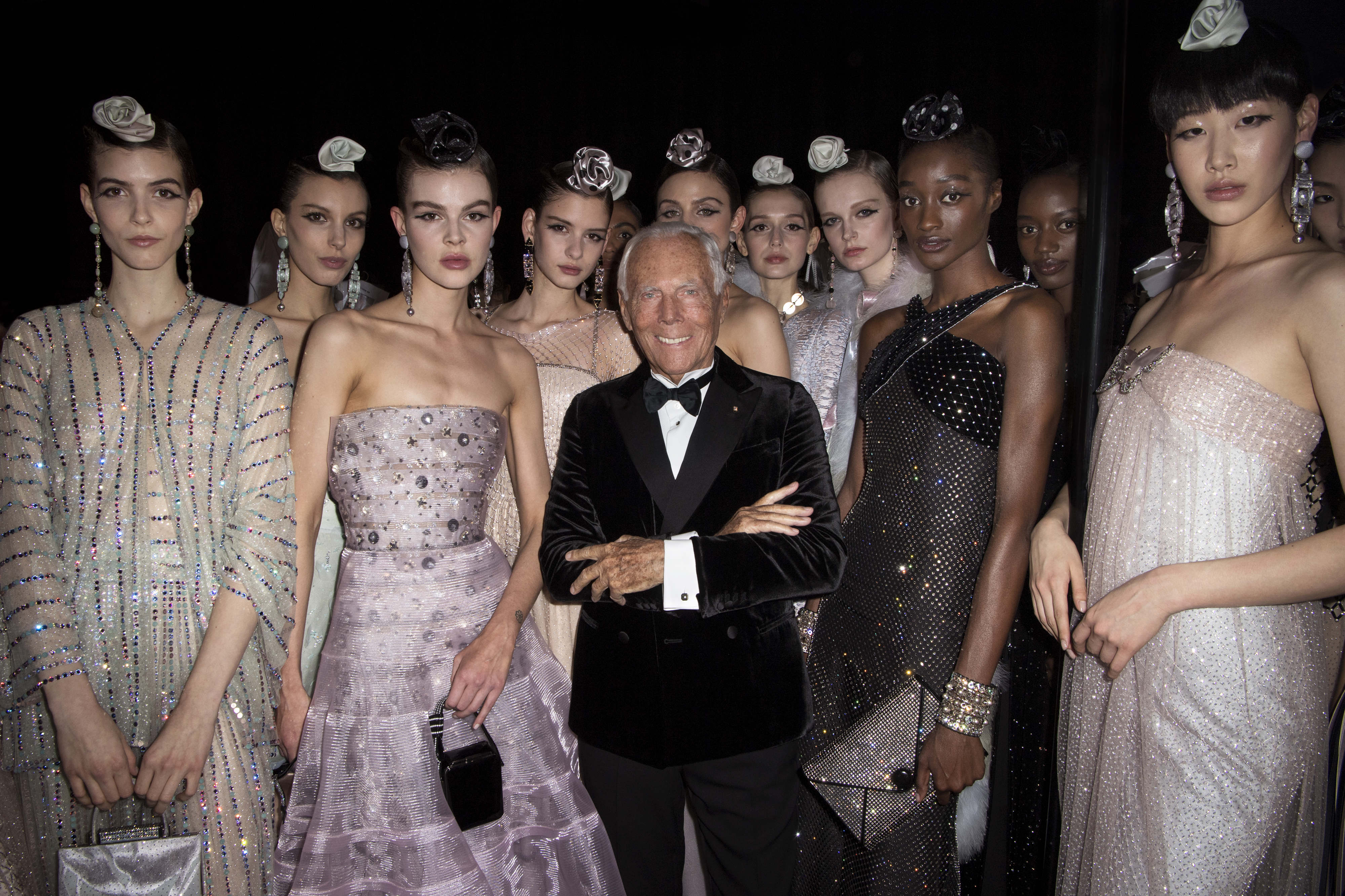 Giorgio Armani with models - photo by Stefano Guindani