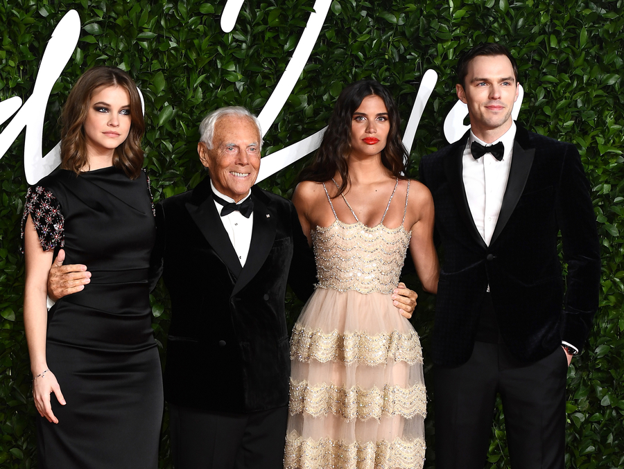 LONDON, ENGLAND - DECEMBER 02: (L-R) Barbara Palvin, Giorgio Armani, Sara Sampaio and Nicholas Hoult arrive at The Fashion Awards 2019 held at Royal Albert Hall on December 02, 2019 in London, England. (Photo by Jeff Spicer/BFC/Getty Images)