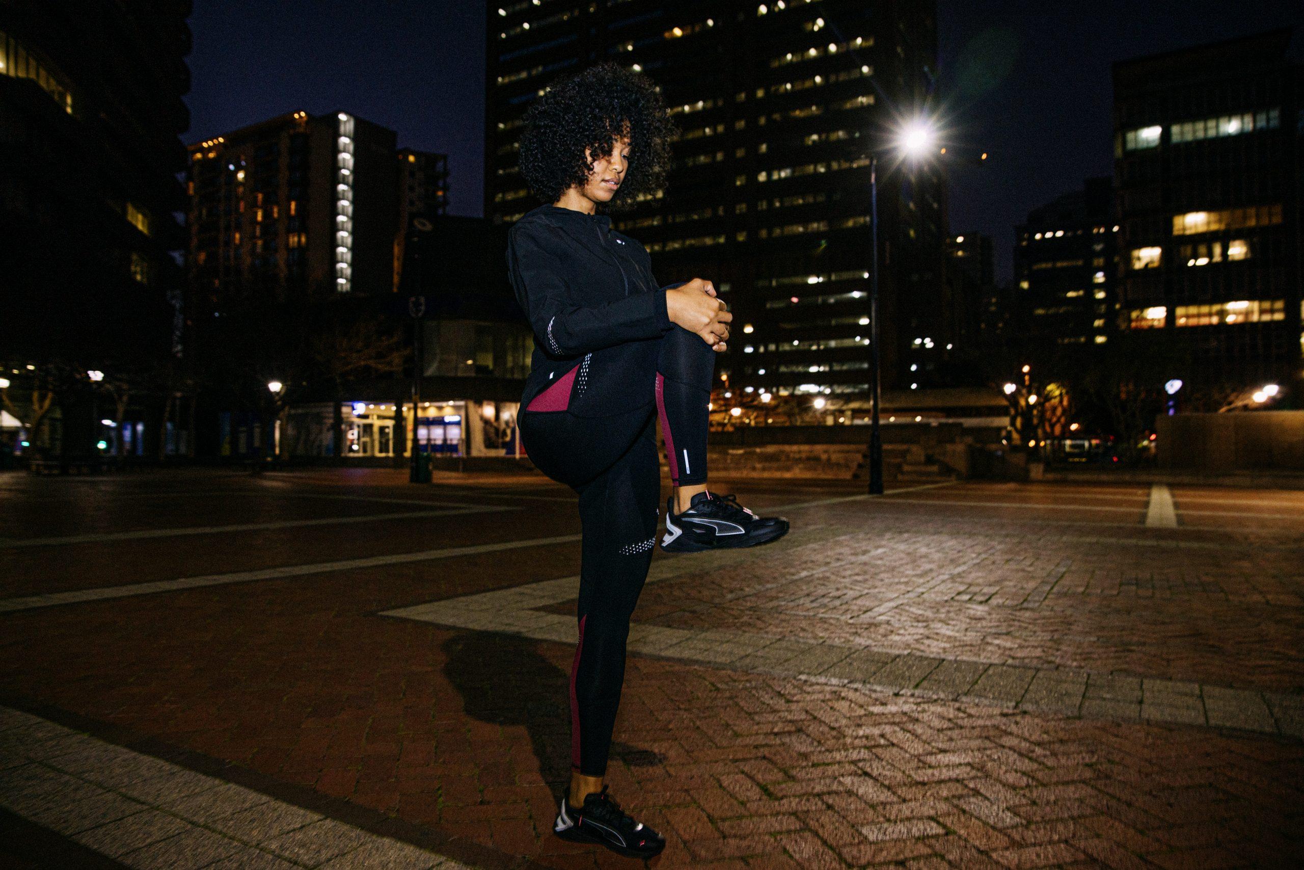 model wearing puma running shoe