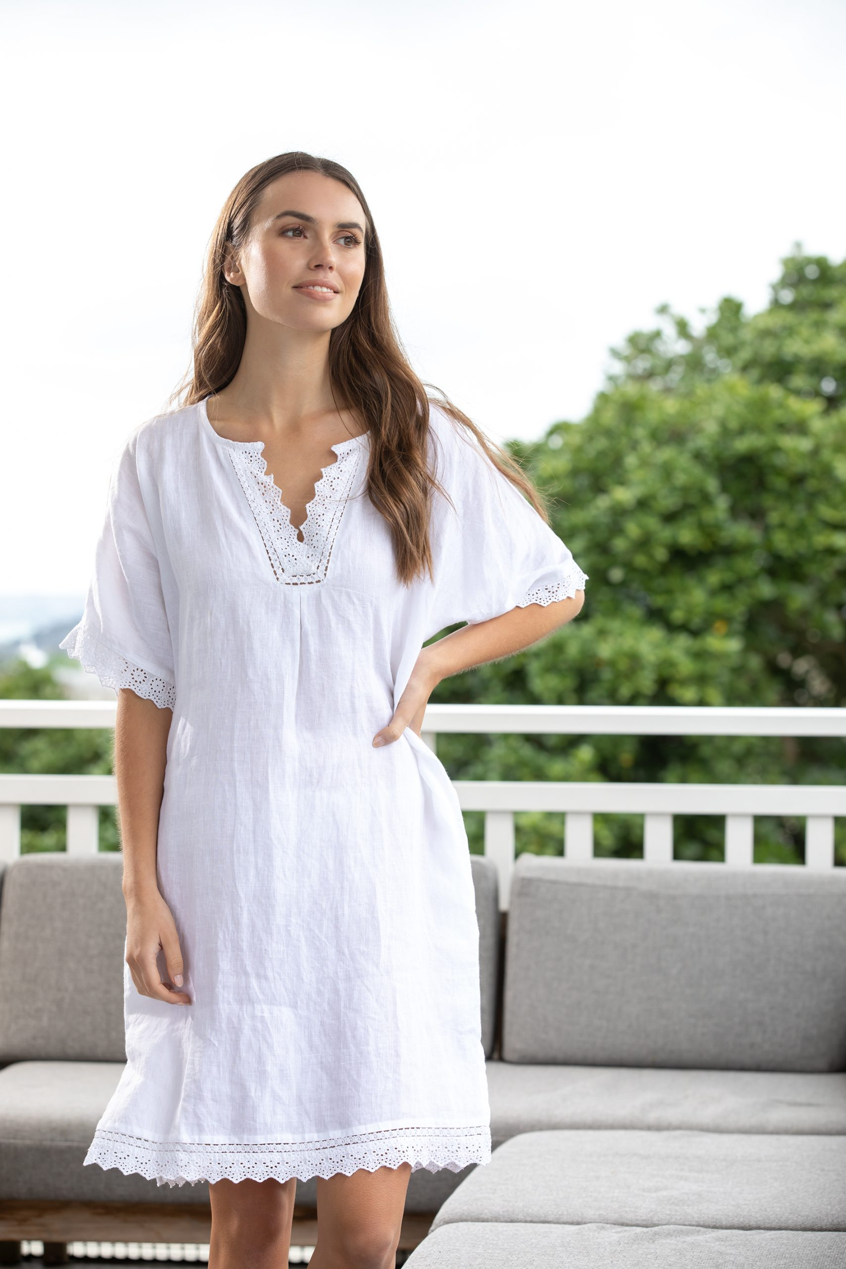 Wallace Cotton Journey Linen Lace Dress White 3 $119.90