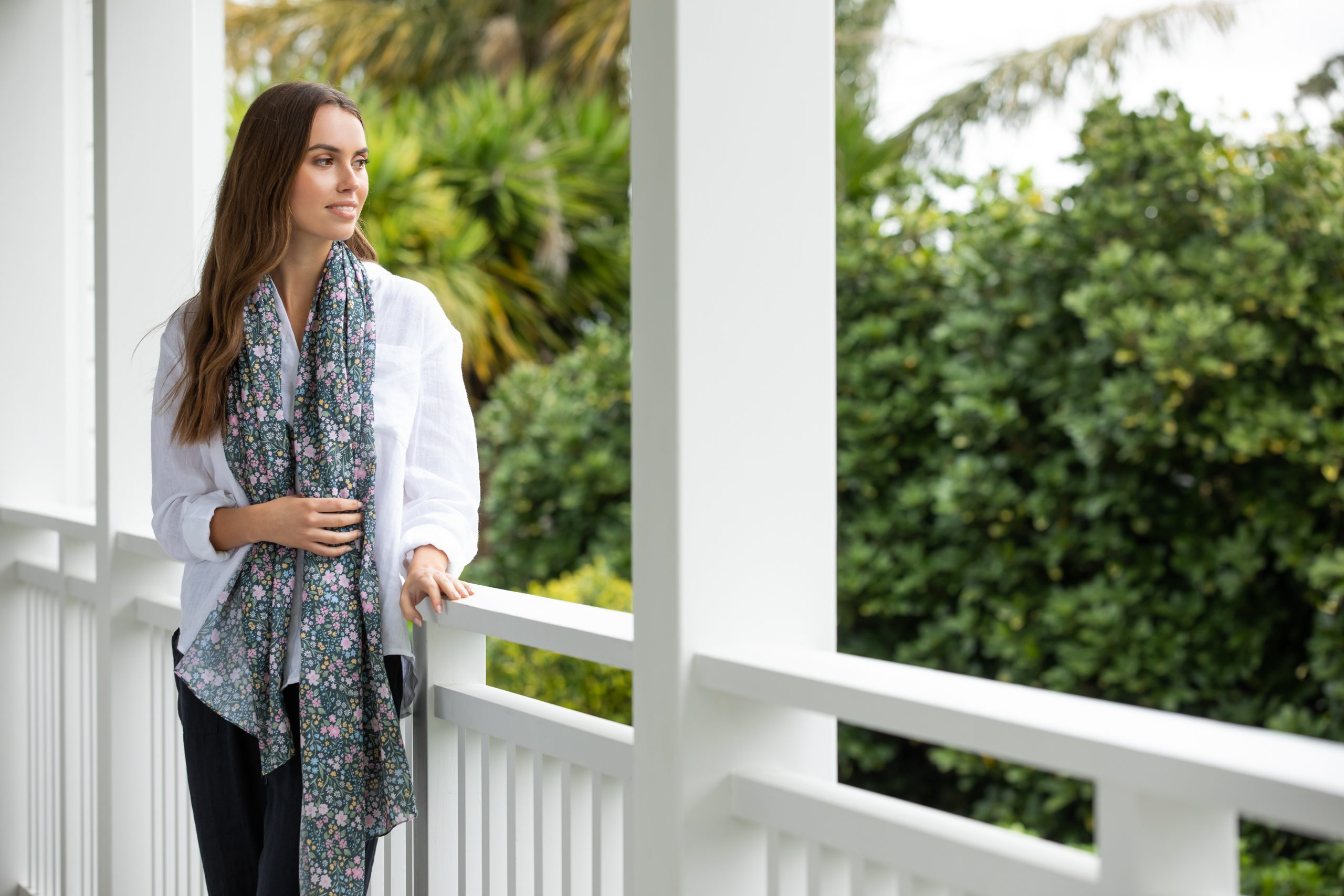 Wallace Cotton Journey Linen Shirt White $99.90 Pants Midnight $99.90 Fleur Wrap 4 $54.90
