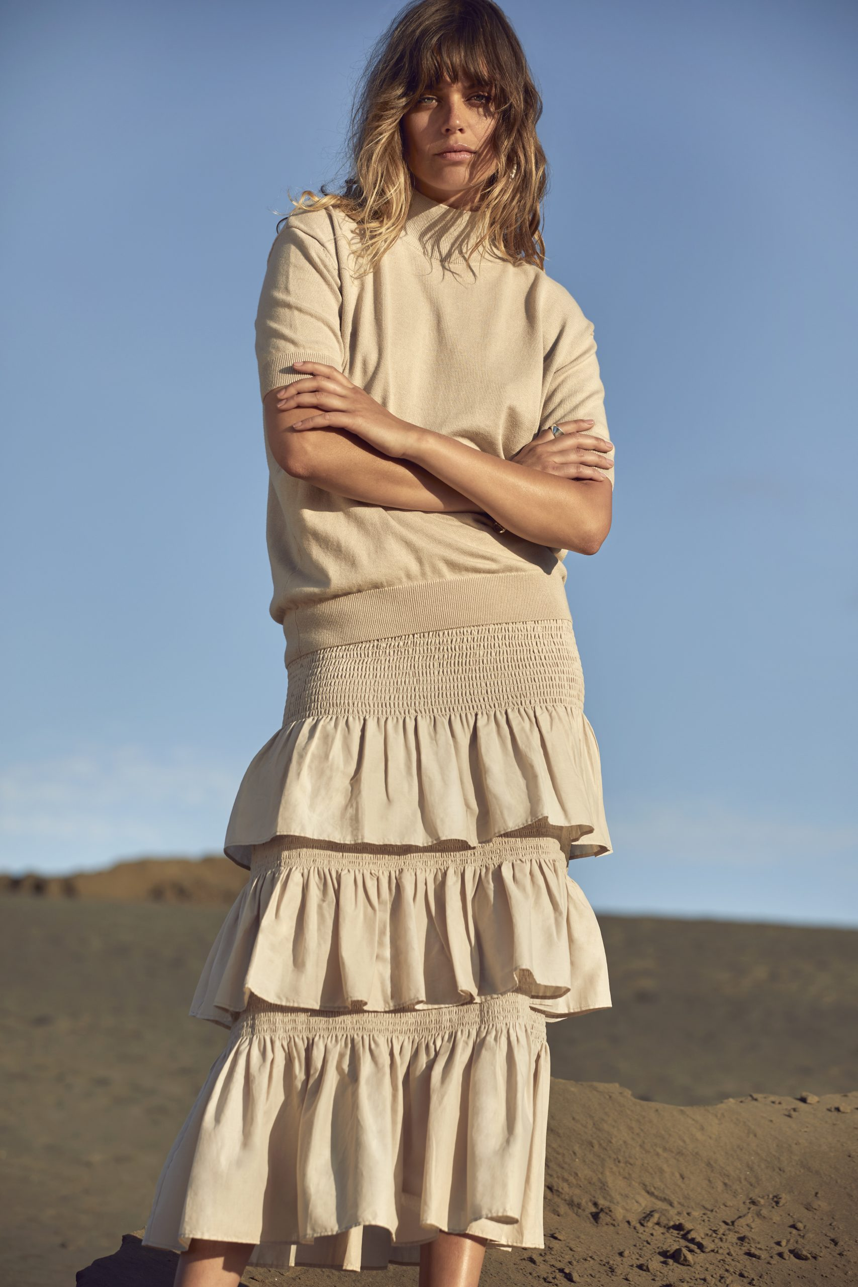 collected tee sweater + layer skirt