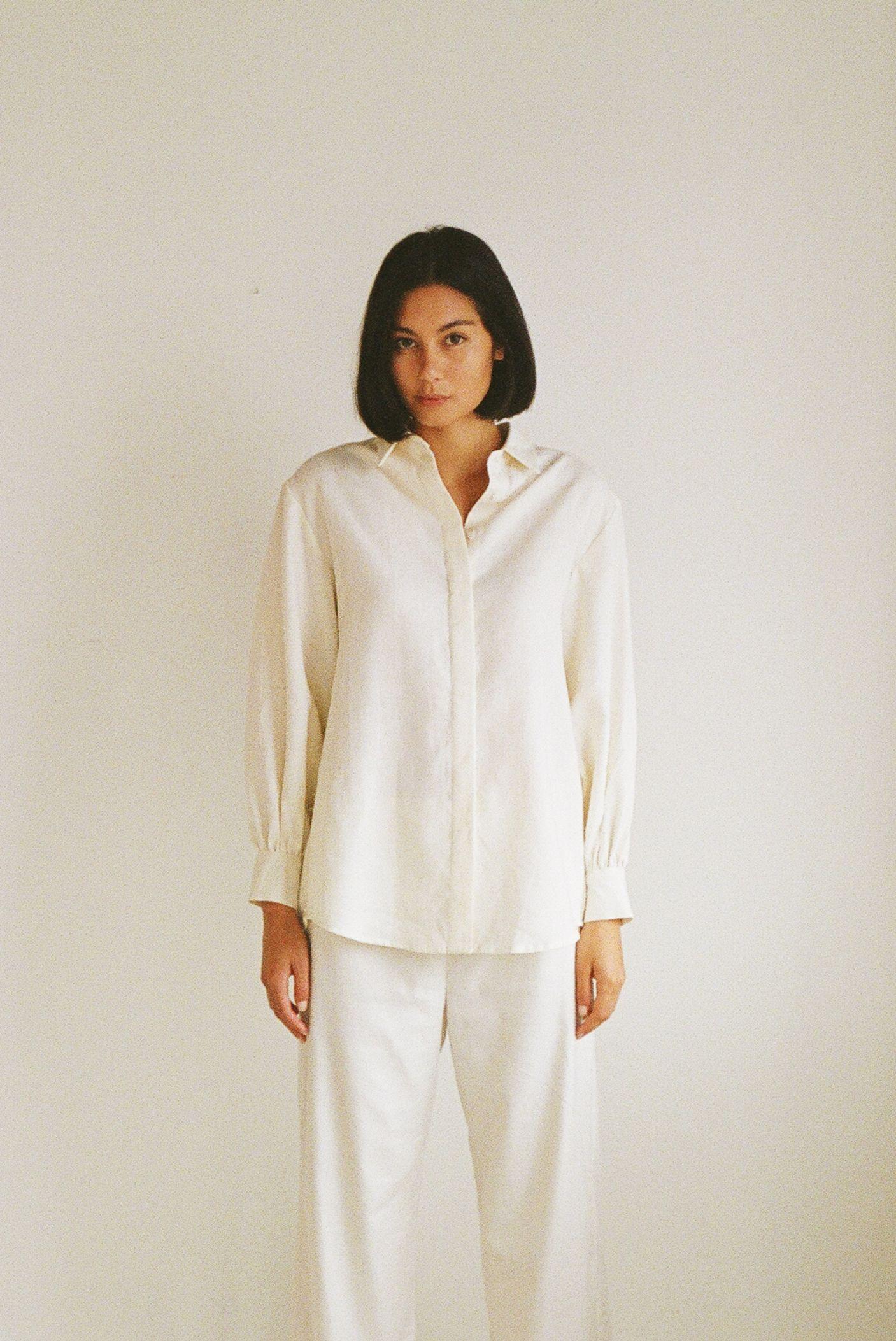 Mes shirt Ivory - Ellis Label - Linen - New Zealand clothing_0028_83090018