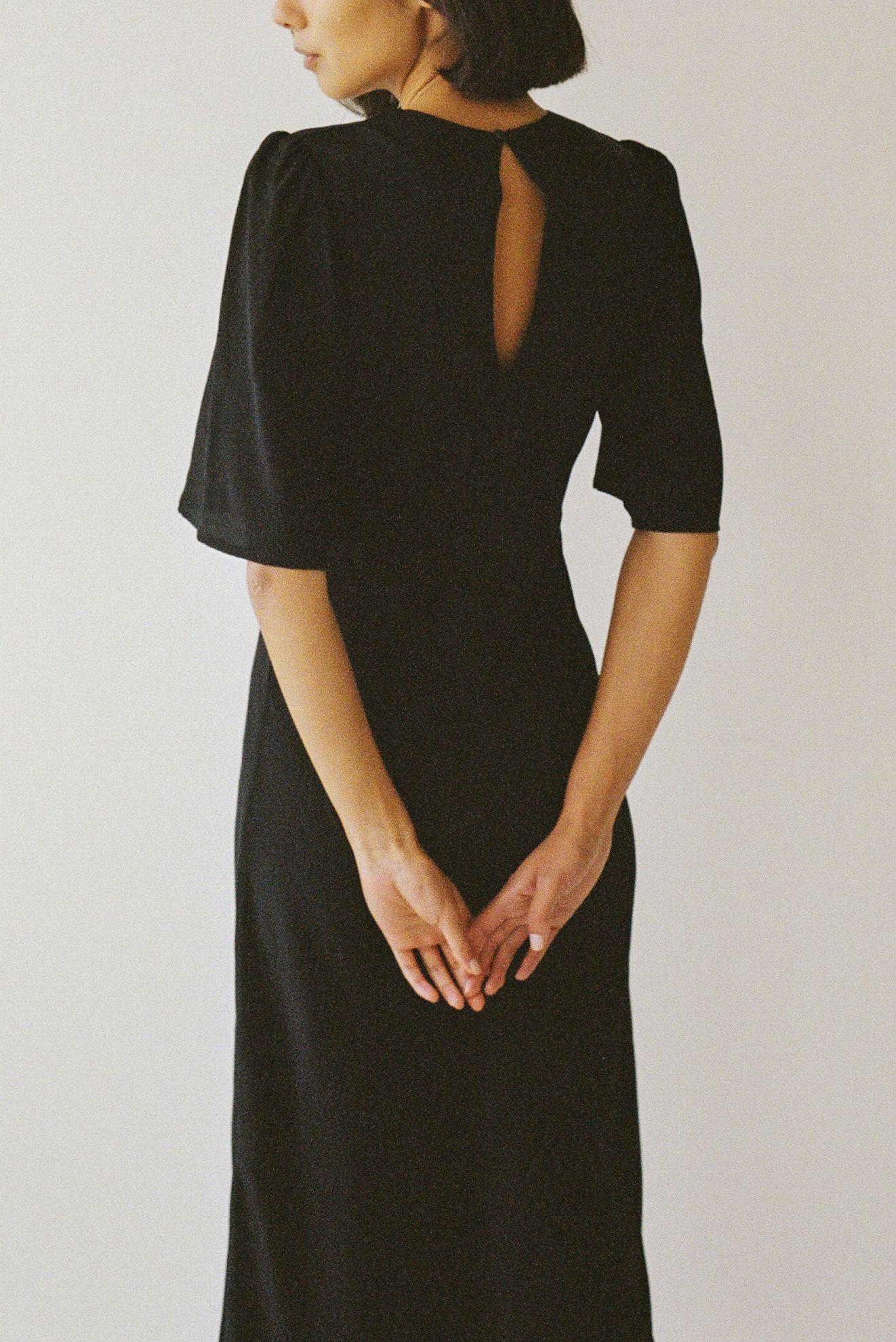 Paloma deux dress - Black silk - Ellis Label - Womens designer clothing_0052_82980030